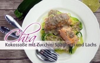 Chia Kokossoße mit Zucchini Spaghetti und Lachs