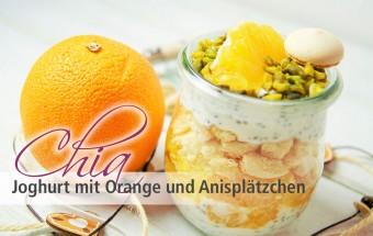 Chia Joghurt mit Orange und Anisplaetzchen